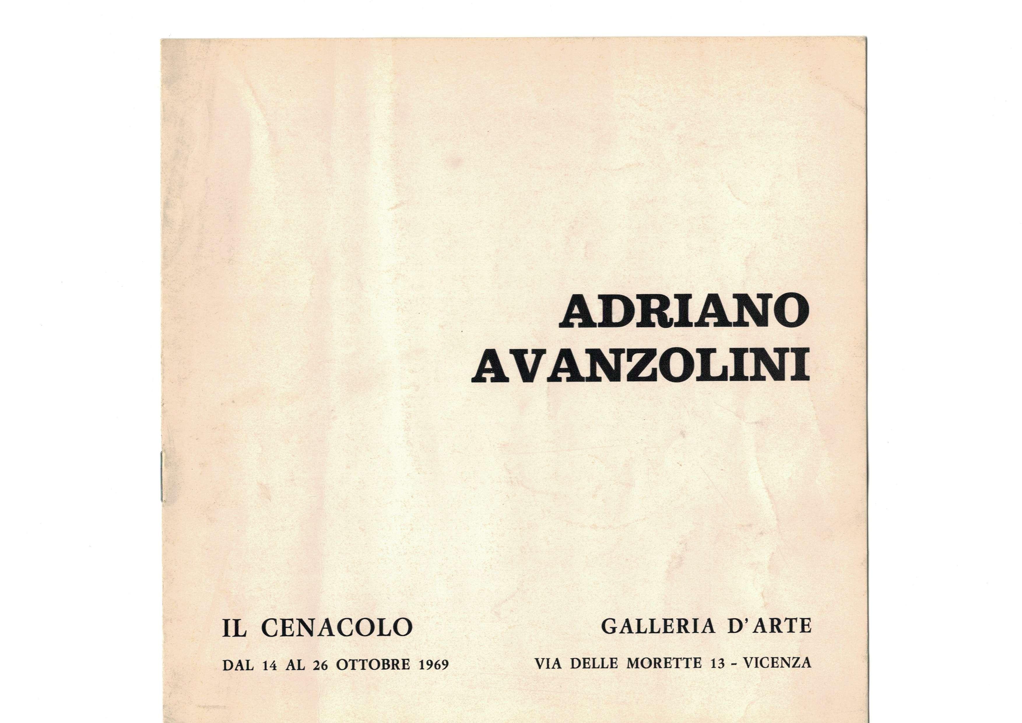 ADRIANO AVANZOLINI, Galleria il Cenacolo, Vicenza (1969)