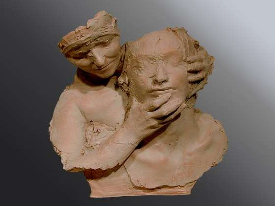 Lo sguardo - Terracotta -  cm 47x47x22