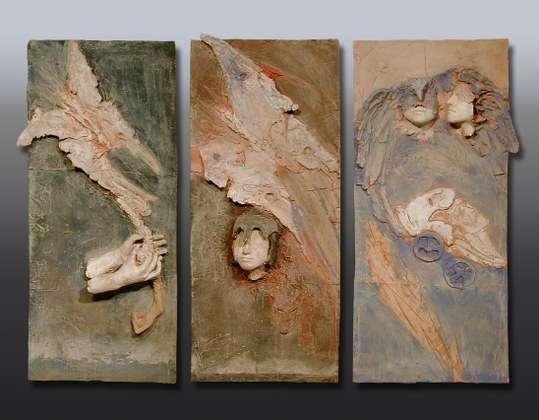 Trittico, Il mito - Terracotta dipinta - cm 142x74 ciascuna tavola