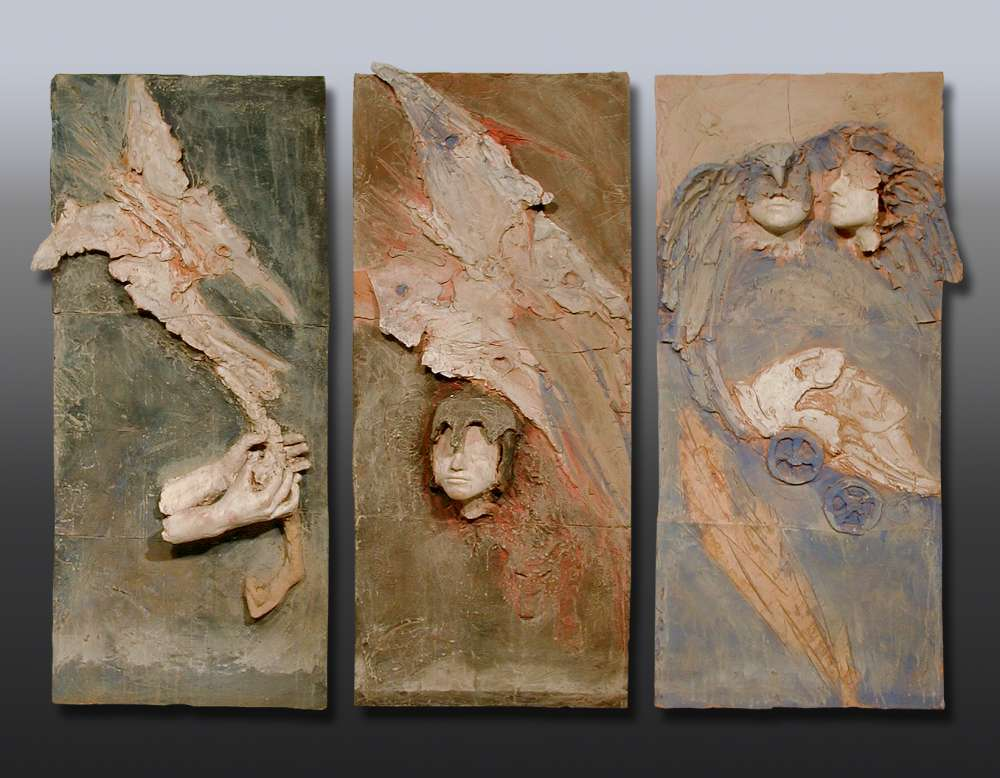Trittico, Il mito - Terracotta dipinta - cm 142x74
