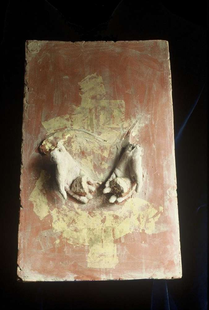 L'offerta - Terracotta e foglia d'oro - cm 38x47,5